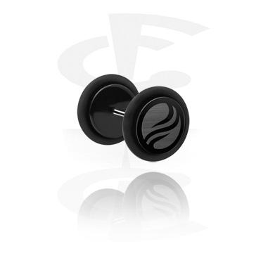 Fake Piercing, Fake plug con lasered Design, Acciaio chirurgico 316L, Acrilico