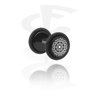 Fake Piercings, Fake plug with lasered Geometric Design, Acrylic