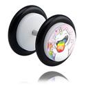 Fake Piercings, Weißer Fake Plug mit Crapwaer-Design, Acryl ,  Chirurgenstahl 316L