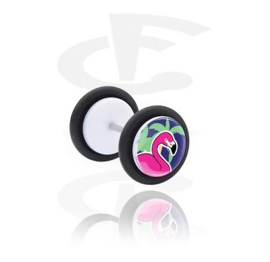 Fake Piercings, Fake plug with Flamingo Design, Acrylic