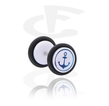 Fake Piercings, Fake plug with Anchor Design, Acrylic