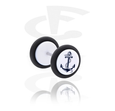 Fake Piercings, Fake plug with Anchor Design, Acrylic