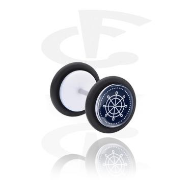 Fake Piercings, Fake plug with Steering Wheel Design, Acrylic
