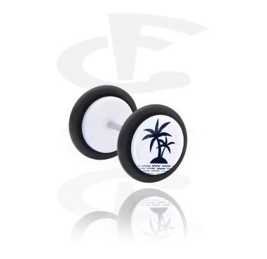 Fake Piercings, Fake plug with Island Design, Acrylic