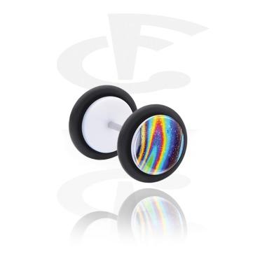 Fake Piercings, Fake plug with Rainbow Design, Acrylic