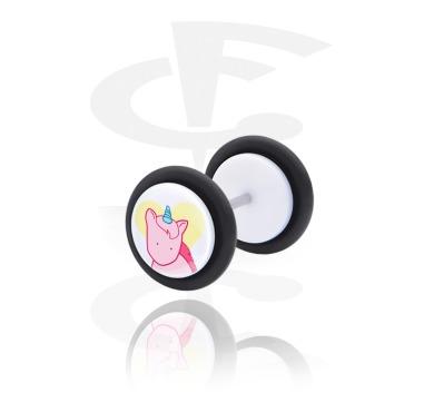 Fake Piercings, Fake plug with Unicorn Design, Acrylic