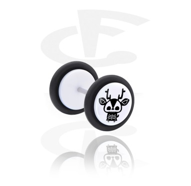 White Fake Plug med cute skeleton design