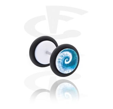 Fake plug med blauem Batik-Design