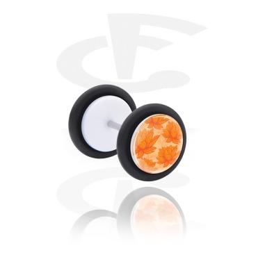 Fake Piercings, Falso plug con Flores y Diseño verano, Acrílico, Acero quirúrgico 316L