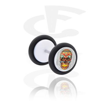 Fake Piercings, Plug falso blanco con Diseño calavera, Acrílico, Acero quirúrgico 316L