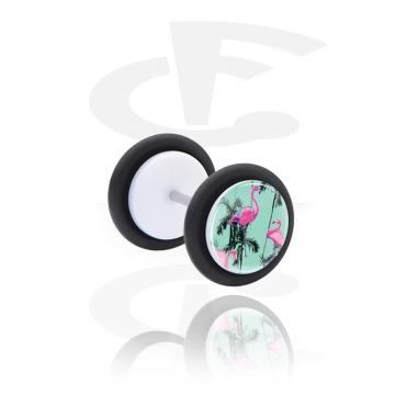 Fake Piercings, Falso plug con Diseño exótico crazy, Acrílico, Acero quirúrgico 316L