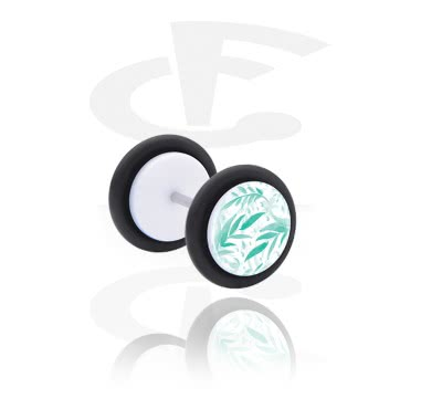 Fake Piercings, Fake plug with green Design, Acrylic, Surgical Steel 316L