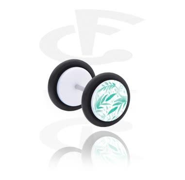 Fake Piercings, Falso plug con Diseño verde, Acrílico, Acero quirúrgico 316L