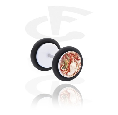 Fake Piercings, White Fake Plug with Vintage Fairy Design, Acrylic, Surgical Steel 316L