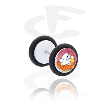 """Fake Piercings, White Fake Plug with Evil Unicorn """"Crazycorn"""", Acrylic"""
