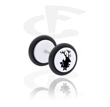 Fake Piercings, White Fake Plug with Winter Stag Design, Acrylic