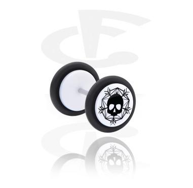 Fake Piercings, White Fake Plug with Winter Skull Design, Acrylic