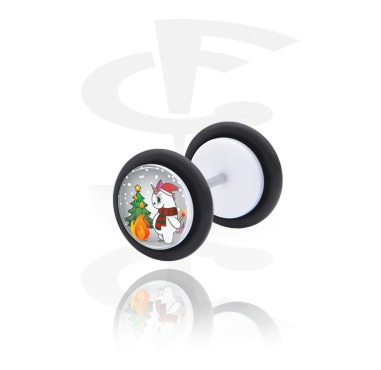 Fake Piercings, White Fake Plug with Crazy Unicorn X-mas, Acrylic