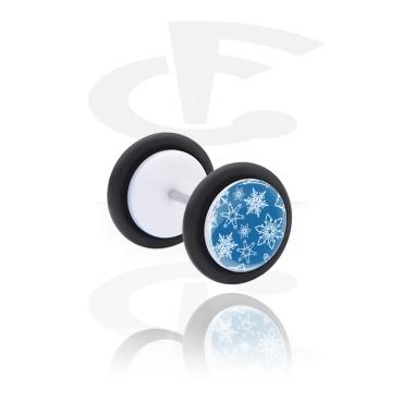 Fake Piercings, White Fake Plug with Snowflake Design, Acrylic