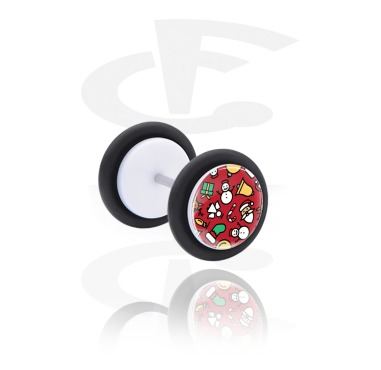 Fake Piercings, White Fake Plug with Christmas Design, Acrylic