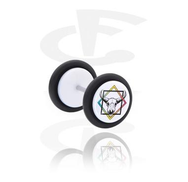 Fake Piercings, Plug falso blanco con Calaveras con figuras geométricas, Acrílico, Acero quirúrgico 316L