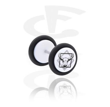 Fake Piercings, White Fake Plug with Geometrics on Skulls, Acrylic, Surgical Steel 316L