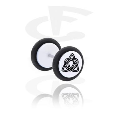 Fake Piercings, Plug falso blanco con Diseño nórdico, Acrílico, Acero quirúrgico 316L