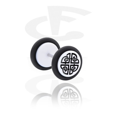 Fake Piercings, White Fake Plug with Nordic Runes, Acrylic, Surgical Steel 316L