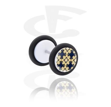 Fake Piercings, White Fake Plug with Arabian Ceramics, Acrylic, Surgical Steel 316L