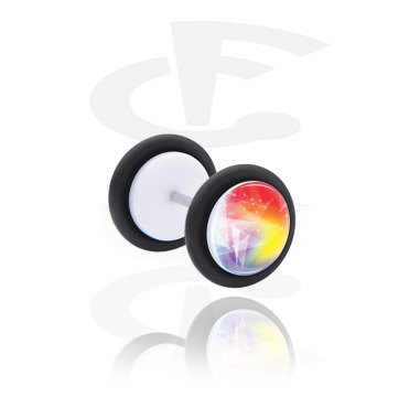 Fake Piercings, White Fake Plug with Stunning aurora, Acrylic, Surgical Steel 316L