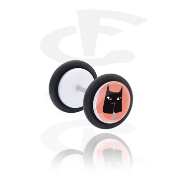 Fake Piercings, White Fake Plug with Cat Design, Acrylic, Surgical Steel 316L