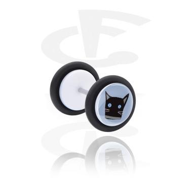 Fake Piercings, Plug falso blanco con Diseño gato, Acrílico, Acero quirúrgico 316L