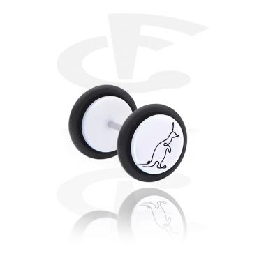Fake Piercings, White Fake Plug with One Line Animal, Acrylic, Surgical Steel 316L