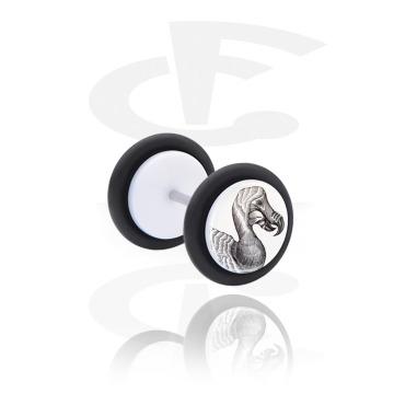 Fake Piercings, White Fake Plug with Jongrak Design, Acrylic, Surgical Steel 316L
