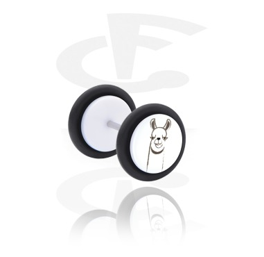 Fake Piercings, White Fake Plug with Alpaca Design, Acrylic, Surgical Steel 316L
