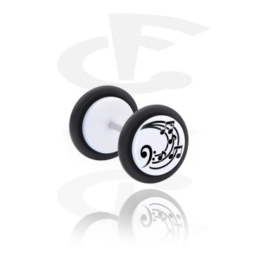 Fake Piercings, White Fake Plug with Musical Note Design, Acrylic, Surgical Steel 316L