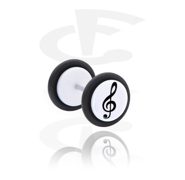 Fake Piercings, White Fake Plug with Clef Design, Acrylic, Surgical Steel 316L