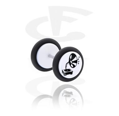 Fake Piercings, White Fake Plug with Record Player Design, Acrylic, Surgical Steel 316L