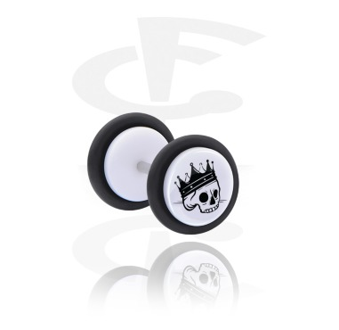 Fake Piercings, White Fake Plug with Freaky Skull, Acrylic, Surgical Steel 316L