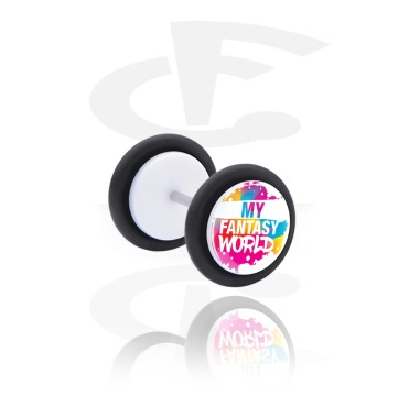 Fake Piercings, White Fake Plug with Magical Unicorn Thought, Acrylic, Surgical Steel 316L