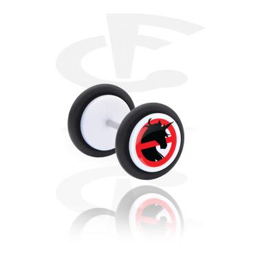 Fake Piercings, Falso plug con Diseño  'Don't do that!' y Diseño unicornio, Acrílico
