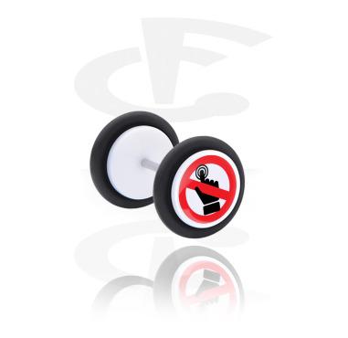 Fake Piercings, Falso plug con Diseño  'Don't do that!', Acrílico