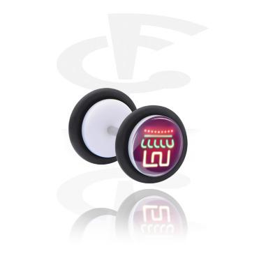 Fake Piercings, Fake plug with Neon Christmas Design, Acrylic, Surgical Steel 316L