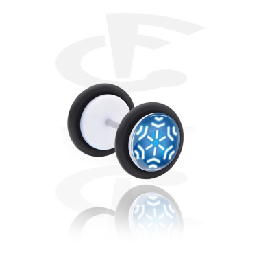 Fake Piercings, White Fake Plug with Winter Snowflake Design, Acrylic ,  Surgical Steel 316L