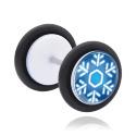 Faux Piercings, Faux plug blanc avec Motif flocon de neige, Acrylique ,  Acier chirurgical 316L