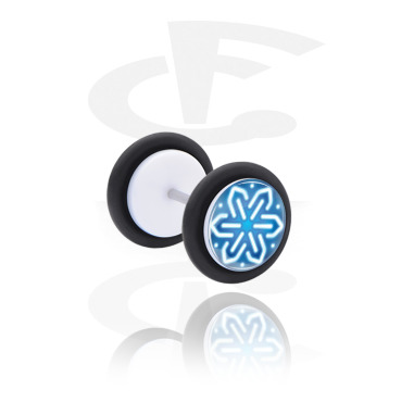 Fake Piercings, White Fake Plug with Winter Design, Acrylic ,  Surgical Steel 316L