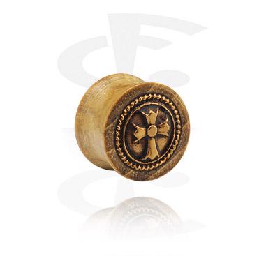 Double Flared Plug com aço banhado a ouro incrustado