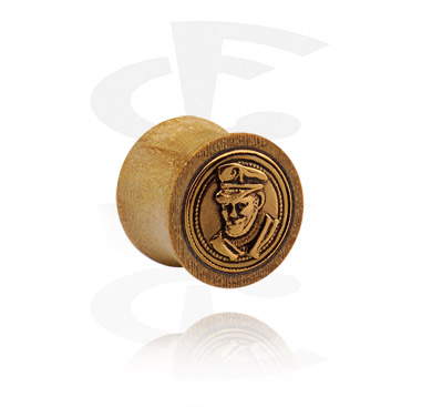 Tunnels & Plugs, Double Flared Plug with Steel Inlay, Wood
