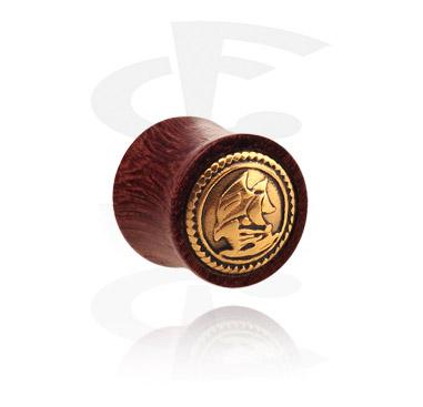 Double flared plug con intarsio in acciaio dorato