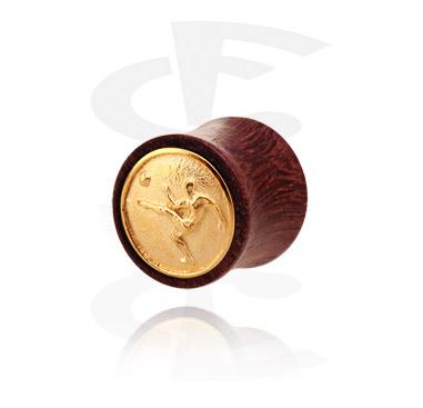 Tunnels & Plugs, Double flared plug avec de l'acier plaqué or, Bois